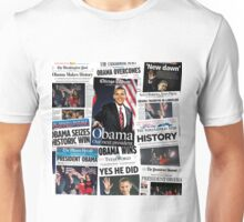 Obama 2008 Commemorative Front Pages Unisex T-Shirt