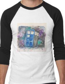 Watercolor Galaxy TARDIS Men's Baseball ¾ T-Shirt