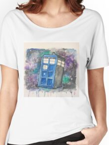 Watercolor Galaxy TARDIS Women's Relaxed Fit T-Shirt