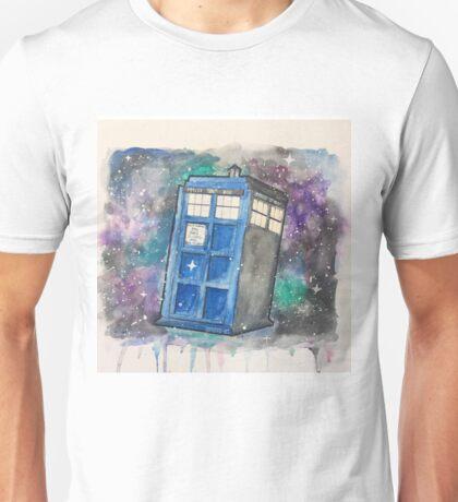 Watercolor Galaxy TARDIS Unisex T-Shirt