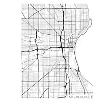 Milwaukee Map, USA - Black and White Photographic Print