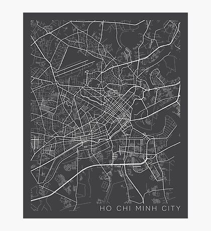 Ho Chi Minh City Map, Vietnam - Gray Photographic Print