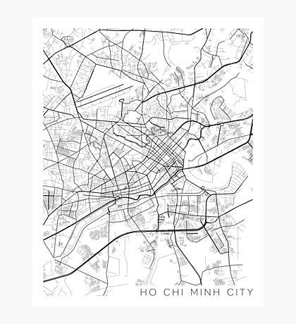 Ho Chi Minh City Map, Vietnam - Black and White Photographic Print