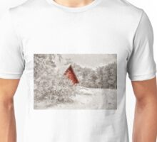 Red Shed In The Snow Unisex T-Shirt
