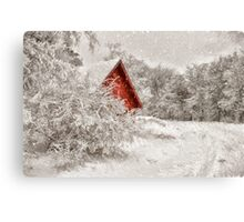 Red Shed In The Snow Canvas Print