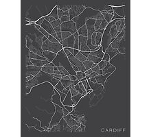 Cardiff Map, Wales - Gray Photographic Print
