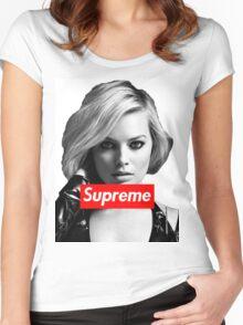 Margot Robbie Supreme B&W  Women's Fitted Scoop T-Shirt