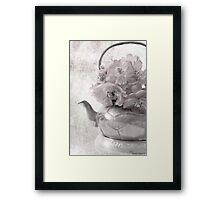 Zinnias In Tea Pot - Digital Oil Painting Framed Print