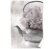 Zinnias In Tea Pot - Digital Oil Painting Poster
