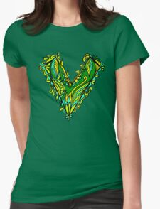 V as vegan, vegetarian, plant, save planet earth, green lifestyle  Womens Fitted T-Shirt