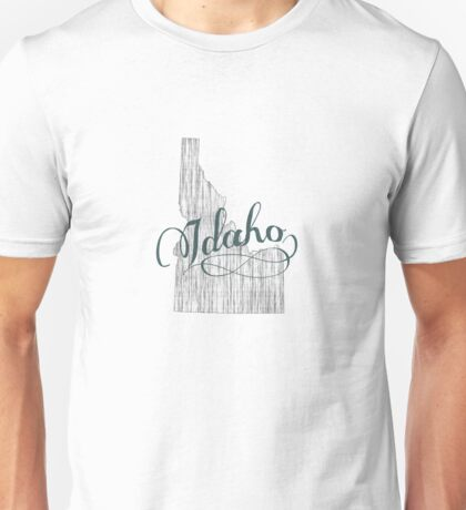 Idaho State Typography Unisex T-Shirt