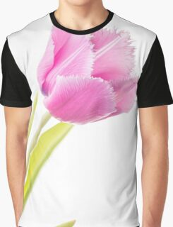 Pink Fringed Tulip on White Background Graphic T-Shirt