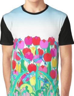 Dragon Flies and Tulips Graphic T-Shirt