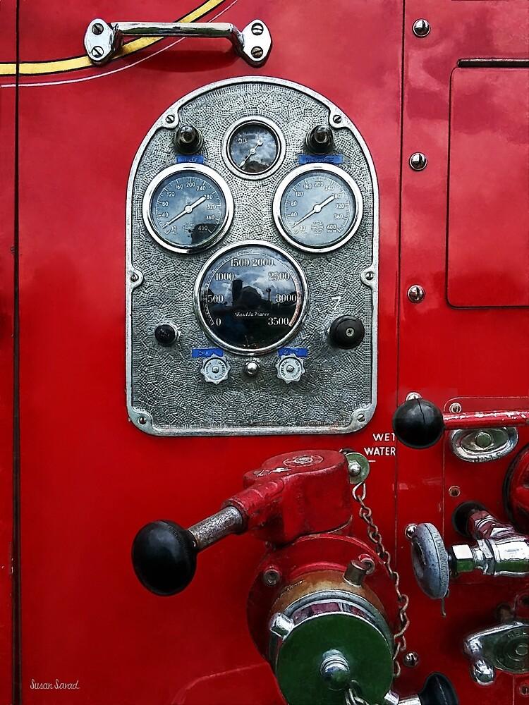 Gauges on Vintage Fire Truck  by Susan Savad