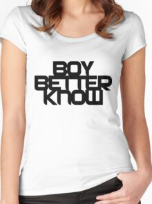 Boy Better Know - Chest Placement (black) Women's Fitted Scoop T-Shirt