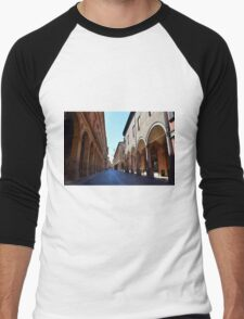 14 August 2016 Photography of a street with buildings with portico on a sunny day in Bologna, Italy. Men's Baseball ¾ T-Shirt