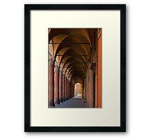 Red portico in Bologna Framed Print