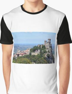 San Marino landscape with tower. Graphic T-Shirt