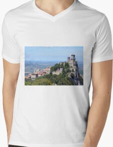 San Marino landscape with tower. Mens V-Neck T-Shirt