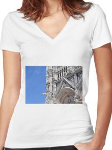 Detail of basilica from Siena with decorations. Women's Fitted V-Neck T-Shirt