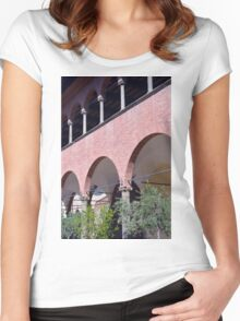 Building with red brick facade and arches in Siena. Women's Fitted Scoop T-Shirt