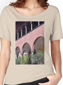 Building with red brick facade and arches in Siena. Women's Relaxed Fit T-Shirt