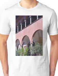 Building with red brick facade and arches in Siena. Unisex T-Shirt
