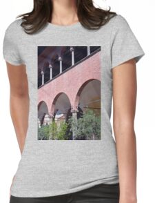 Building with red brick facade and arches in Siena. Womens Fitted T-Shirt