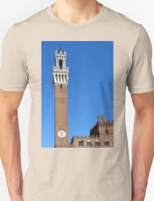 Brick buildings and tower from Piazza del Campo in Siena. Unisex T-Shirt