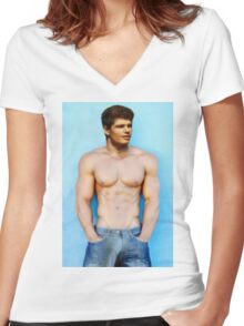Topless young athlete in Jeans Women's Fitted V-Neck T-Shirt