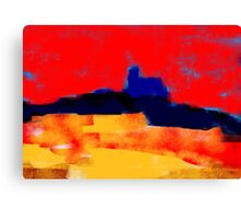 Yellow and red landscape and the blue village Canvas Print