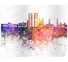 Casablanca skyline in watercolor background Poster