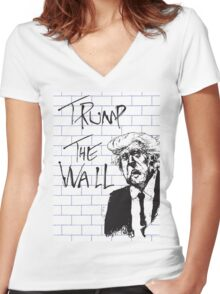Trump - The Wall - Pink Floyd parody Women's Fitted V-Neck T-Shirt