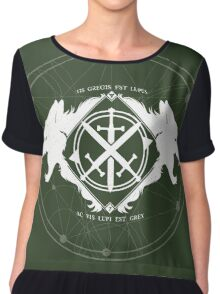 Strength of the Wolf [White / Green] Chiffon Top