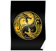 Yin Yang Dragons Yellow and Black Poster