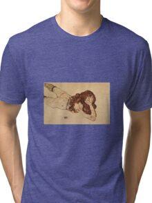 Egon Schiele - Female Nude Lying On Her Stomach 1917 Tri-blend T-Shirt