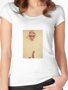 Egon Schiele - Portrait Of A Man With A Floppy Hat Portrait Of Erwin Dominilk Osen 1910 Women's Fitted Scoop T-Shirt