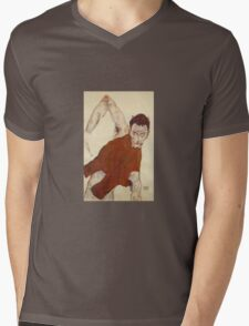Egon Schiele - Self Portrait In A Jerkin With Right Elbow Raised 1914 Mens V-Neck T-Shirt
