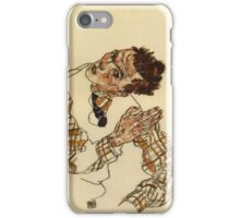 Egon Schiele - Self Portrait With Checkered Shirt 1917 iPhone Case/Skin