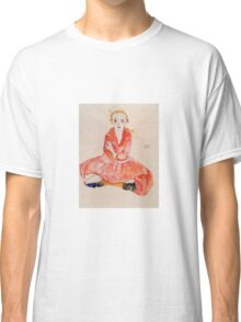 Egon Schiele - Seated Girl Facing Front 1911 Classic T-Shirt