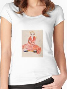 Egon Schiele - Seated Girl Facing Front 1911 Women's Fitted Scoop T-Shirt