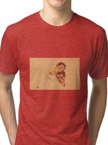 Egon Schiele - Double Self Portrait 1915 Tri-blend T-Shirt