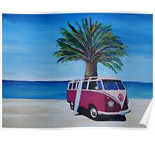Surf Bus Series - Red Surf Bus at palm beach Poster