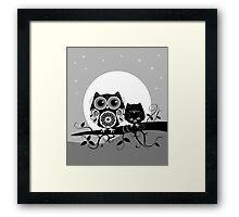 Flower power Owl with sleepy Baby & full Moon Framed Print