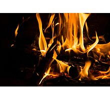 Hot - Crackling Blaze in a Fireplace Photographic Print