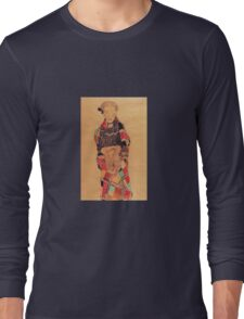 Egon Schiele - Girl In Black Pinafore Wrapped In Plaid Blanket 1910 Long Sleeve T-Shirt