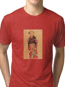 Egon Schiele - Girl In Black Pinafore Wrapped In Plaid Blanket 1910 Tri-blend T-Shirt