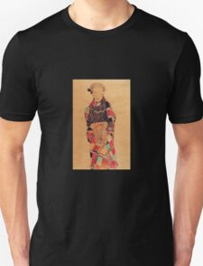 Egon Schiele - Girl In Black Pinafore Wrapped In Plaid Blanket 1910 Unisex T-Shirt