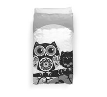 Flower power Owl with sleepy Baby & full Moon Duvet Cover