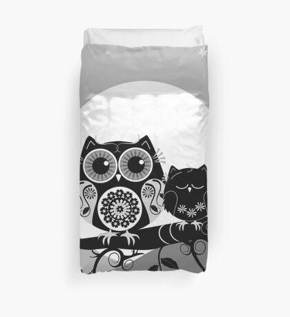 Flower power Owl with sleepy Baby & full Moon Duvet Cover